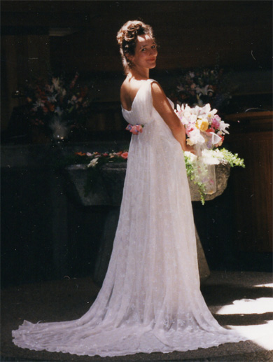 My grecian waterfall bridal gown combining elements of several gowns